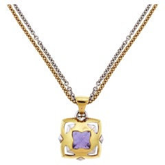 Bulgari Pyramid 18K Gold Amethyst Two-Tone Double Link Chain Pendant Necklace