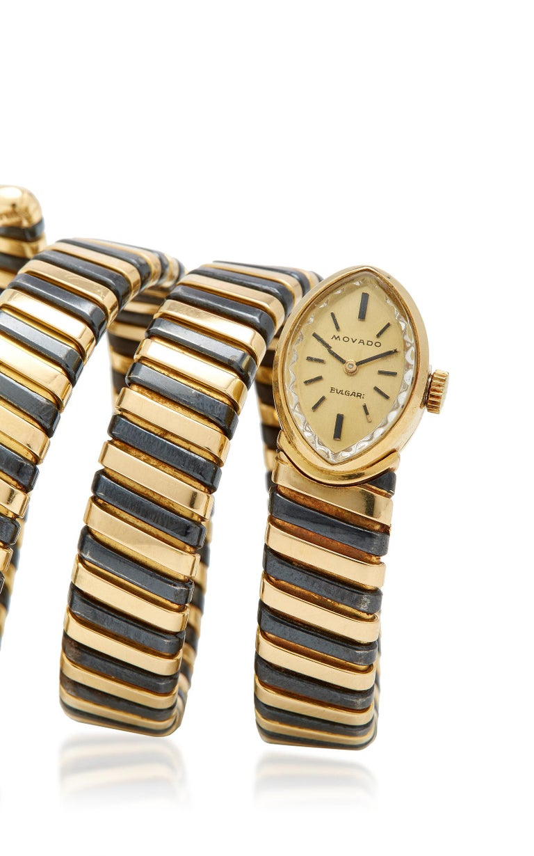 Bulgari Rare Black and Yellow Gold Tubogas Ladies Watch In Good Condition For Sale In New York, NY
