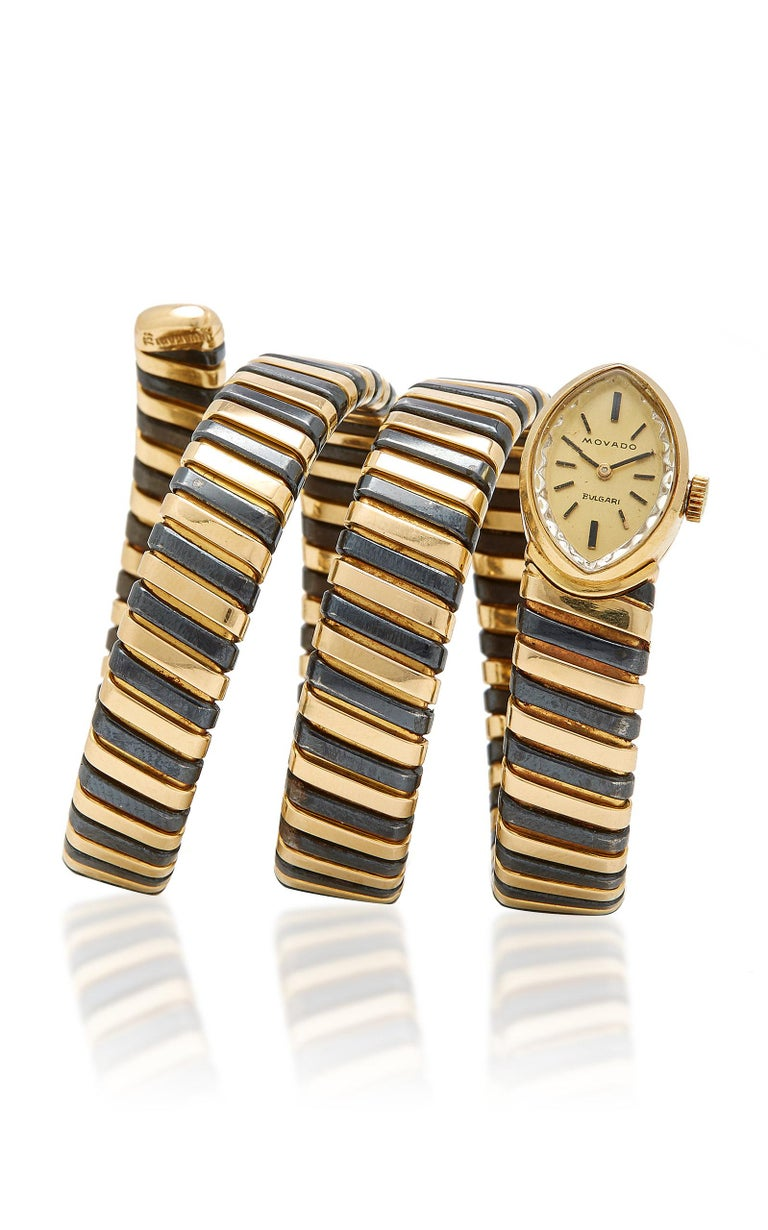 Women's Bulgari Rare Black and Yellow Gold Tubogas Ladies Watch For Sale