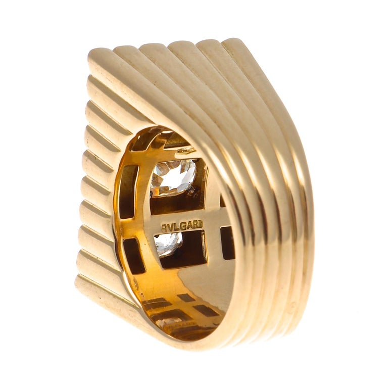 Women's Bulgari Retro Diamond Gold Ring For Sale