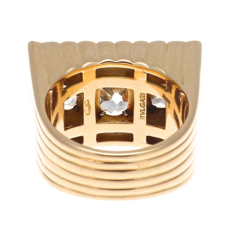Bulgari Retro Diamond Gold Ring For Sale 1