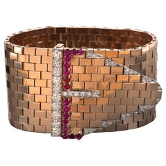 Bulgari Retro  Ruby Diamond Rose Gold Cuff