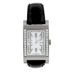 Bulgari Rettangolo Diamond Leather Strap Watch