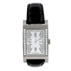 Bulgari Rettangolo Diamond Leather Strap Watch