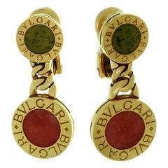Bulgari Rhodochrosite and Jade Yellow Gold Drop Earrings