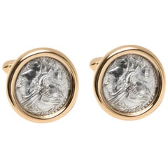 Bulgari Roman Coin Cufflinks in 18 Karat Yellow Gold
