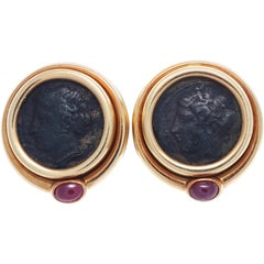 Bulgari Roman Coin Ruby Gold Earrings