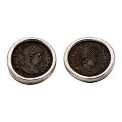 Bulgari Roman Coin Silver Earrings