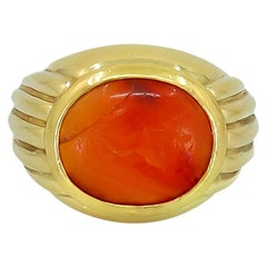 Bulgari Roman Intaglio Carnelian Yellow Gold Bombe Ring