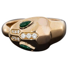 Bulgari Rose Gold Malachite and Diamond Serpenti Ring with box and papers