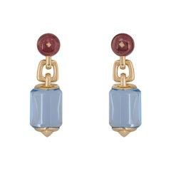Bulgari Rose Gold Amethyst and Aquamarine Earrings