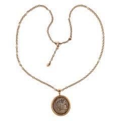 Bulgari Rose Gold Attica Athens 449 B.C. Ancient Coin Pendant Necklace
