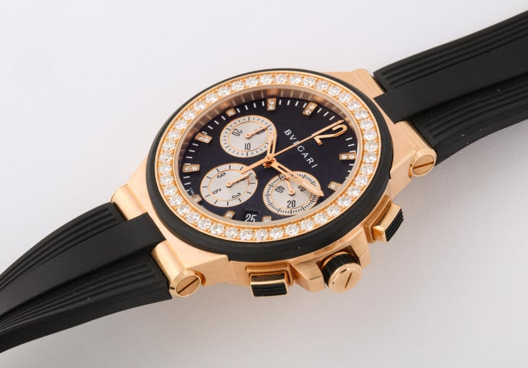 Bulgari Rose Gold Diamond Diagono Chronograph Watch In Good Condition For Sale In Bal Harbour, FL