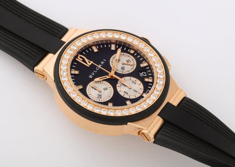 Women's or Men's Bulgari Rose Gold Diamond Diagono Chronograph Watch For Sale