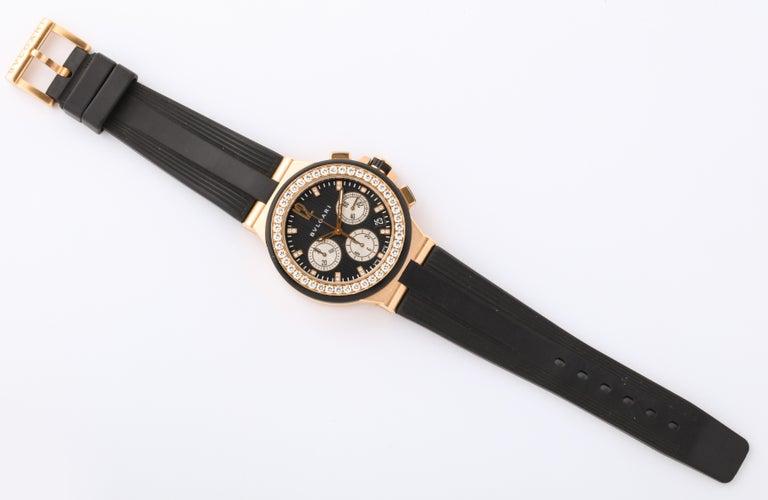 Bulgari Rose Gold Diamond Diagono Chronograph Watch For Sale 1