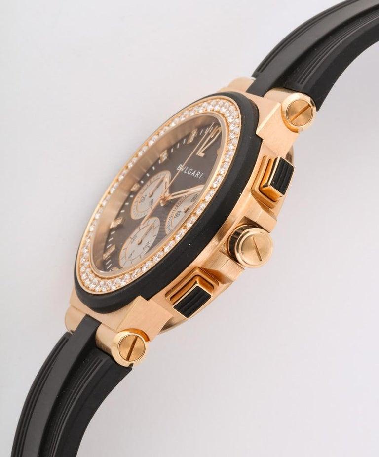 Bulgari Rose Gold Diamond Diagono Chronograph Watch For Sale 2