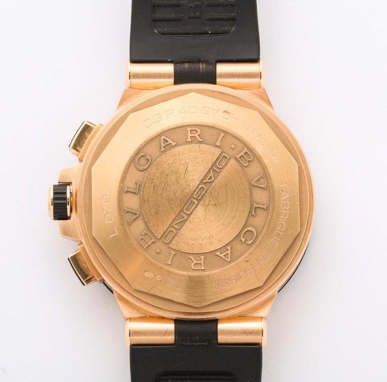 Bulgari Rose Gold Diamond Diagono Chronograph Watch For Sale 3