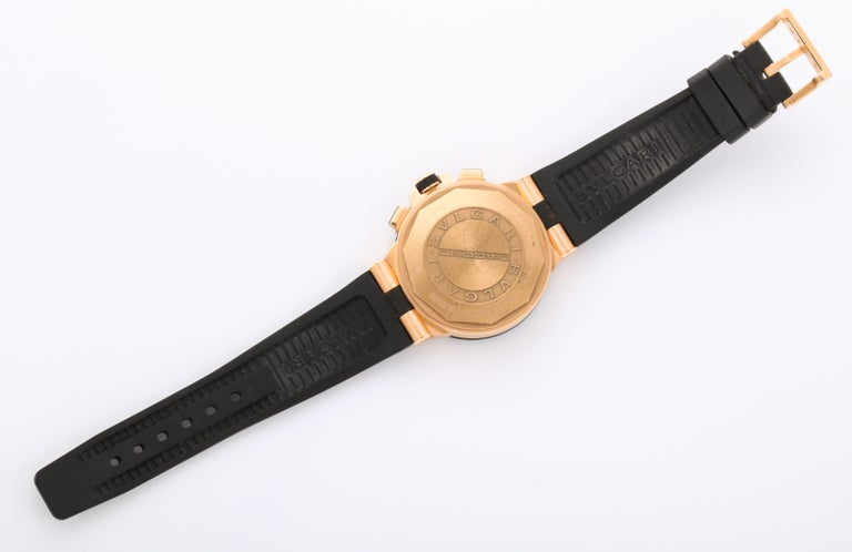 Bulgari Rose Gold Diamond Diagono Chronograph Watch For Sale 4