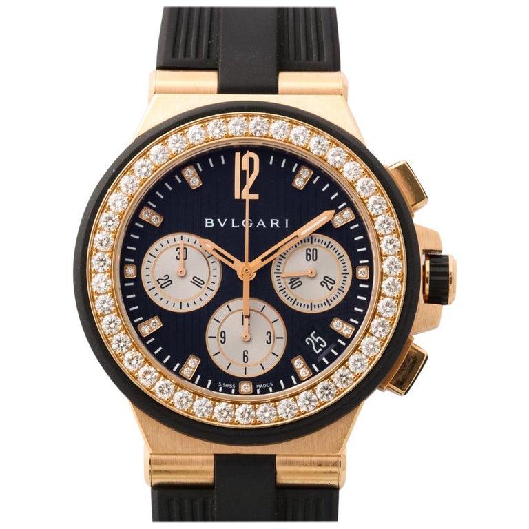 Bulgari Rose Gold Diamond Diagono Chronograph Watch For Sale