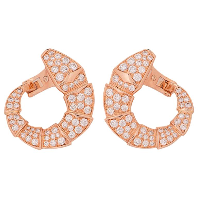 Bulgari Rose Gold Diamond Serpenti Earrings 2.06 Carat For Sale