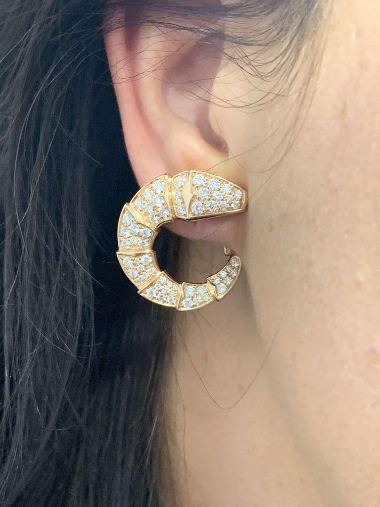 Bulgari Rose Gold Diamond Serpenti Earrings 2.06 Carat For Sale 1