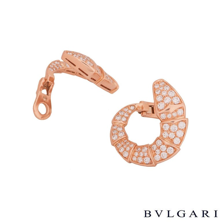 Women's Bulgari Rose Gold Diamond Serpenti Earrings For Sale