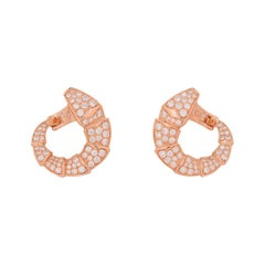 Bulgari Rose Gold Diamond Serpenti Earrings