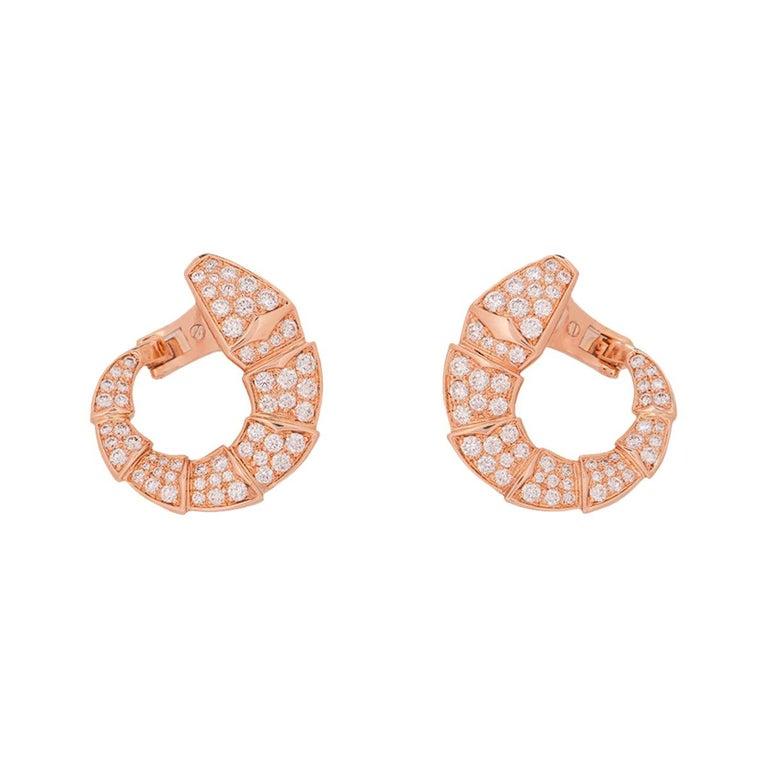 Bulgari Rose Gold Diamond Serpenti Earrings For Sale