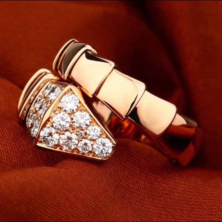 Brilliant Cut Bulgari Rose Gold Diamond Serpenti Ring Size L For Sale