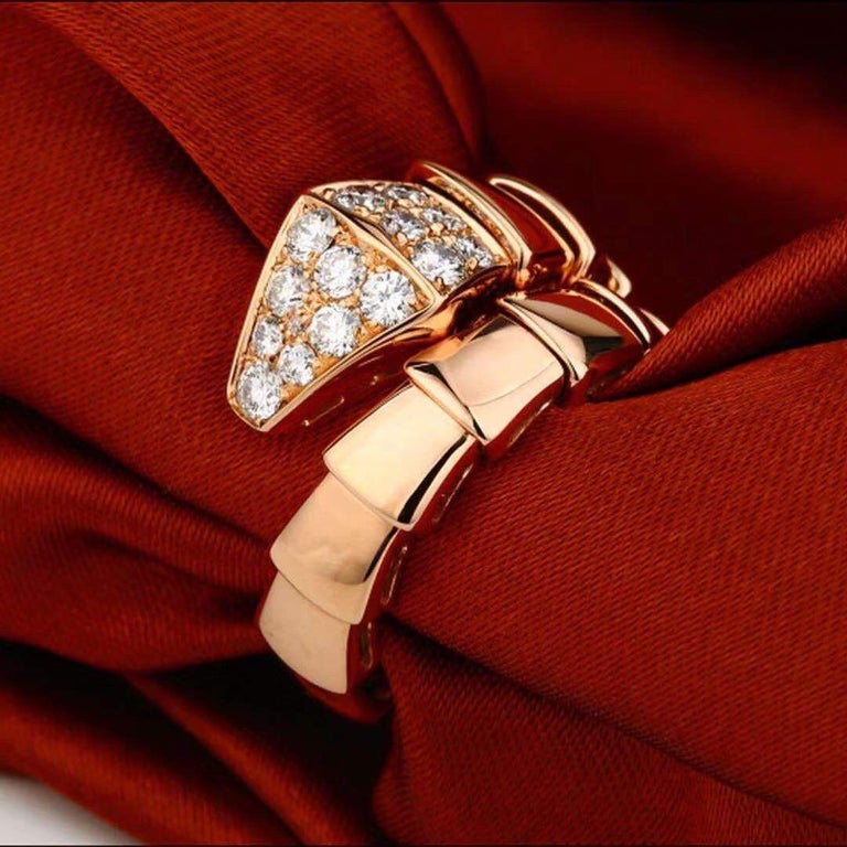 Bulgari Rose Gold Diamond Serpenti Ring Size L In Excellent Condition For Sale In Banbury, GB
