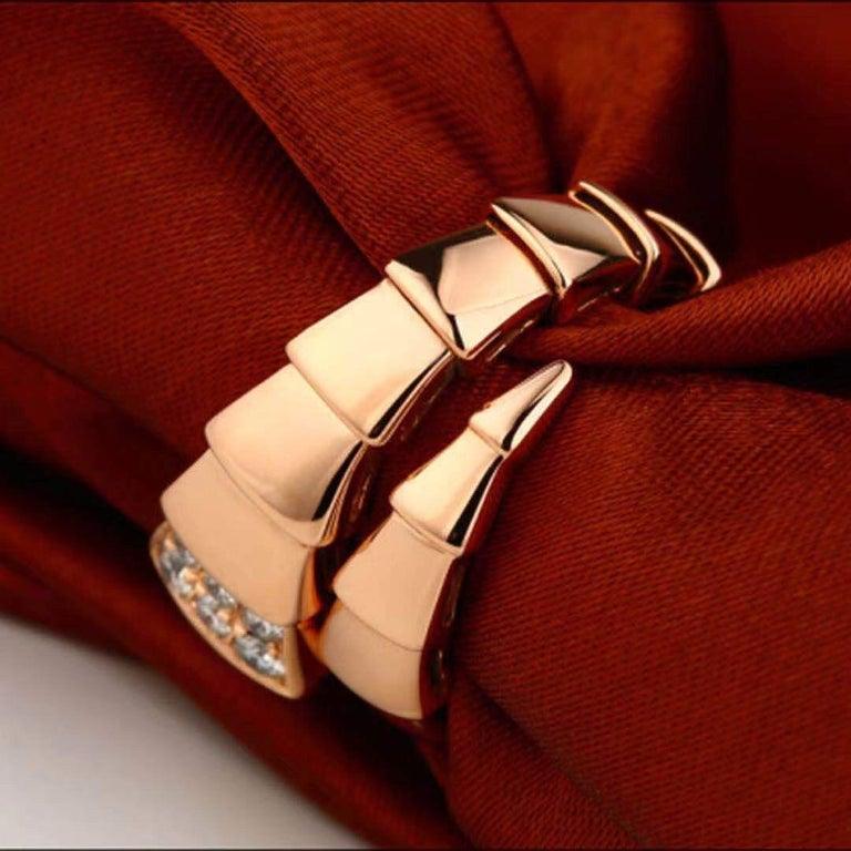 Bulgari Rose Gold Diamond Serpenti Ring Size L For Sale 1