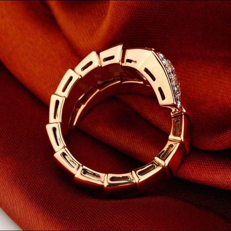 Bulgari Rose Gold Diamond Serpenti Ring Size L For Sale 2