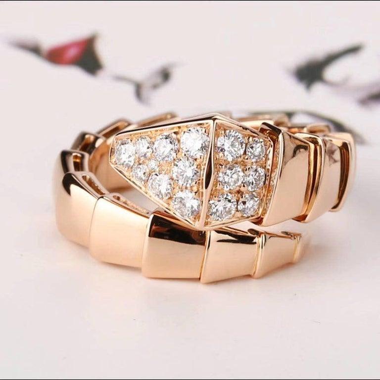 Bulgari Rose Gold Diamond Serpenti Ring Size L For Sale 3