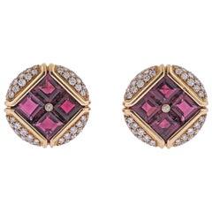 Bulgari Rubellite Diamond Gold Earrings