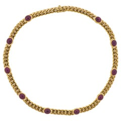 Bulgari Ruby Cabochon Gold Necklace