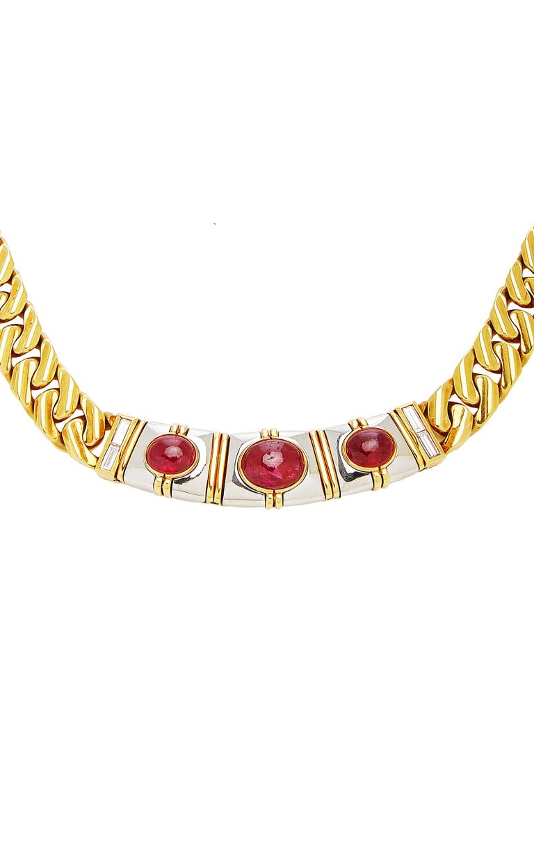 Bulgari Ruby Chain Necklace In Good Condition For Sale In New York, NY
