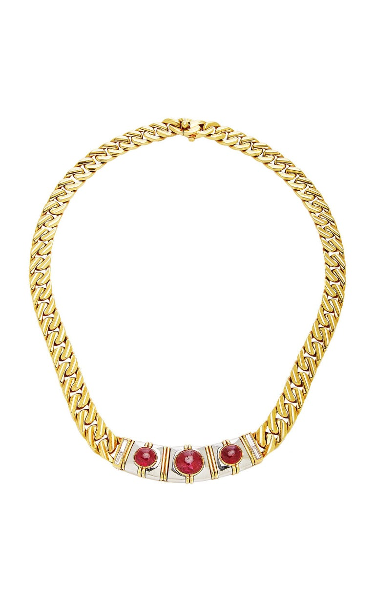 Women's or Men's Bulgari Ruby Chain Necklace For Sale