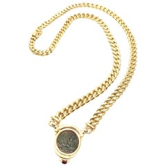 Bulgari Ruby Coin Pendant Yellow Gold Link Necklace