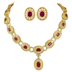 Bulgari Ruby Diamond Gold Necklace and Earring Suite