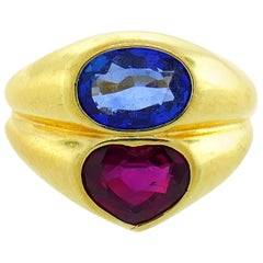 Bulgari Ruby Sapphire Yellow Gold Doppio Ring 1980s