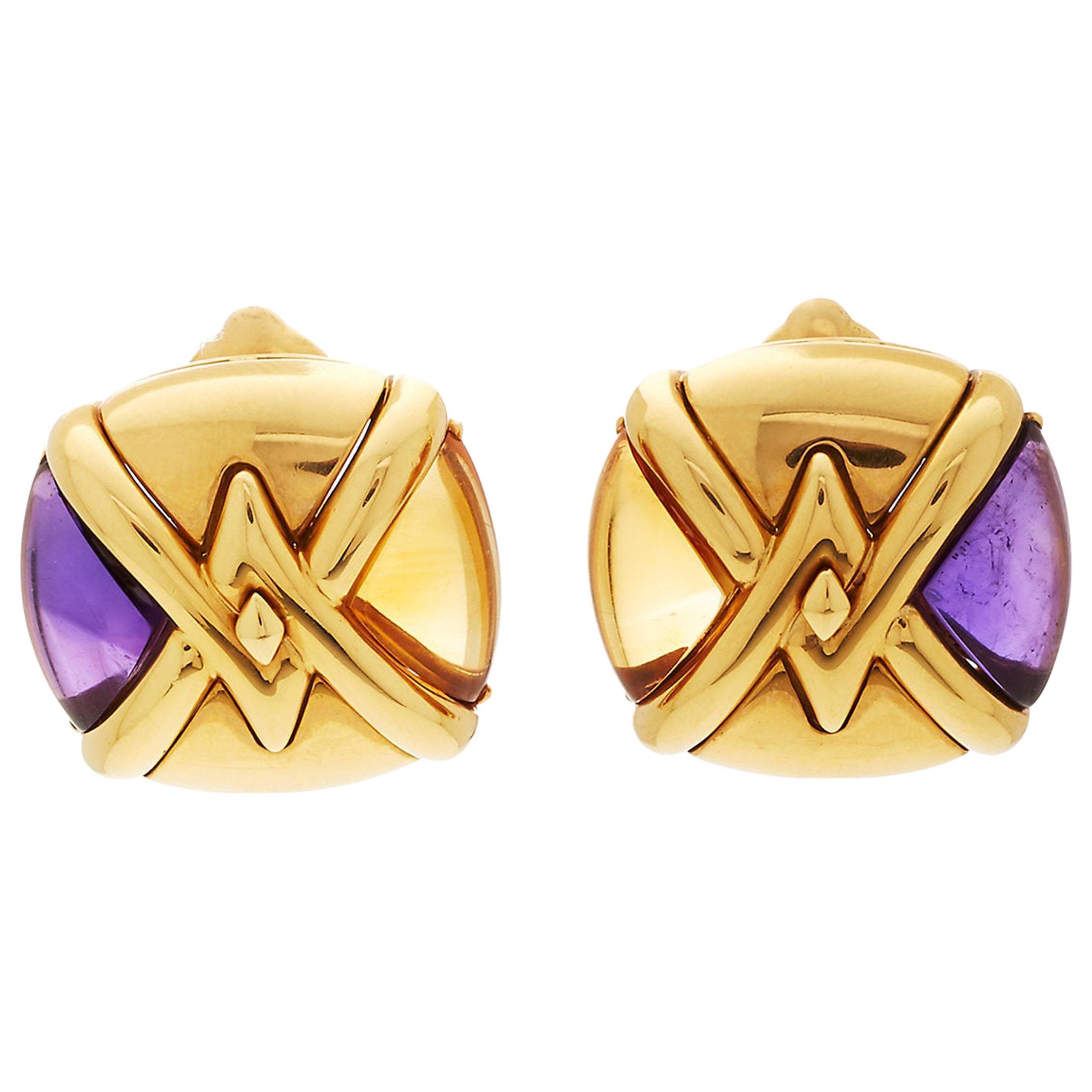 Bulgari Saetta Citrine Amethyst Gold Ear-Clips