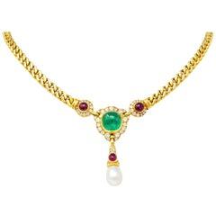 Bulgari Saltwater Natural Pearl Emerald Diamond Ruby 18 Karat Gold Drop Necklace