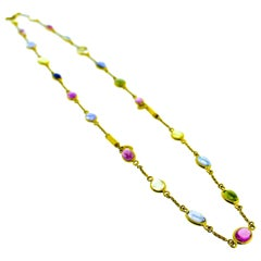 Bulgari Sapphire and 18 Karat Gold Necklace Which Also Converts to Bracelets