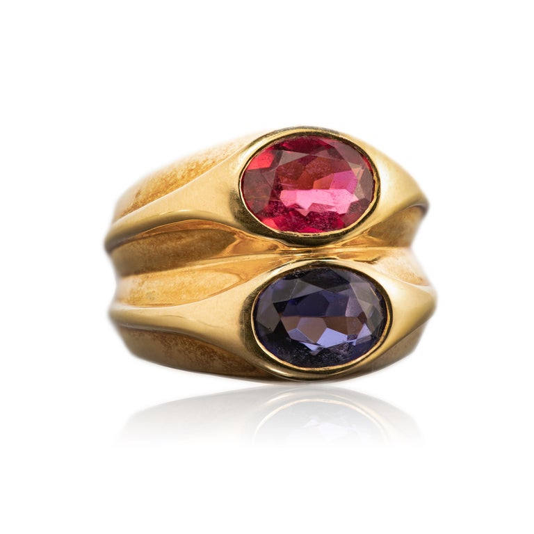 Oval Cut Bulgari Sapphire and Ruby Doppio Ring For Sale