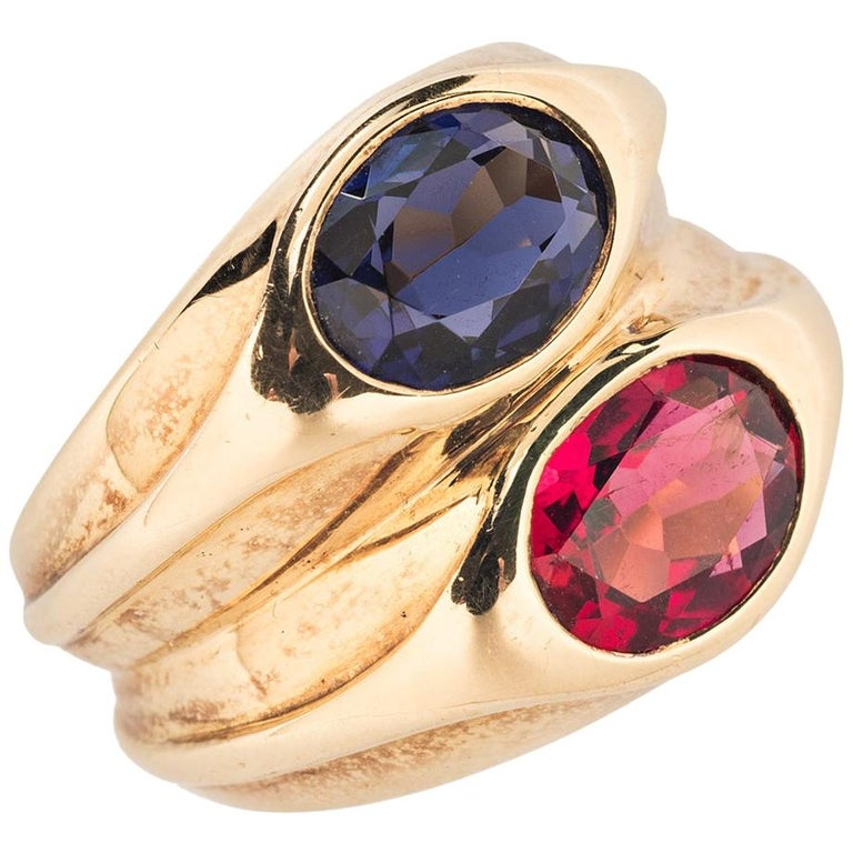 Bulgari Sapphire and Ruby Doppio Ring For Sale