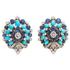 Bulgari Sapphire and Turquoise and Sapphire Earrings
