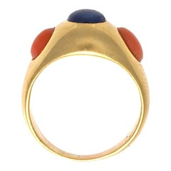 Bulgari Sapphire Coral Gold Ring