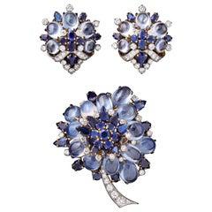 Bulgari Sapphire Earrings and Brooch Set