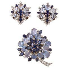 Bulgari Sapphire Earrings and Brooch Set