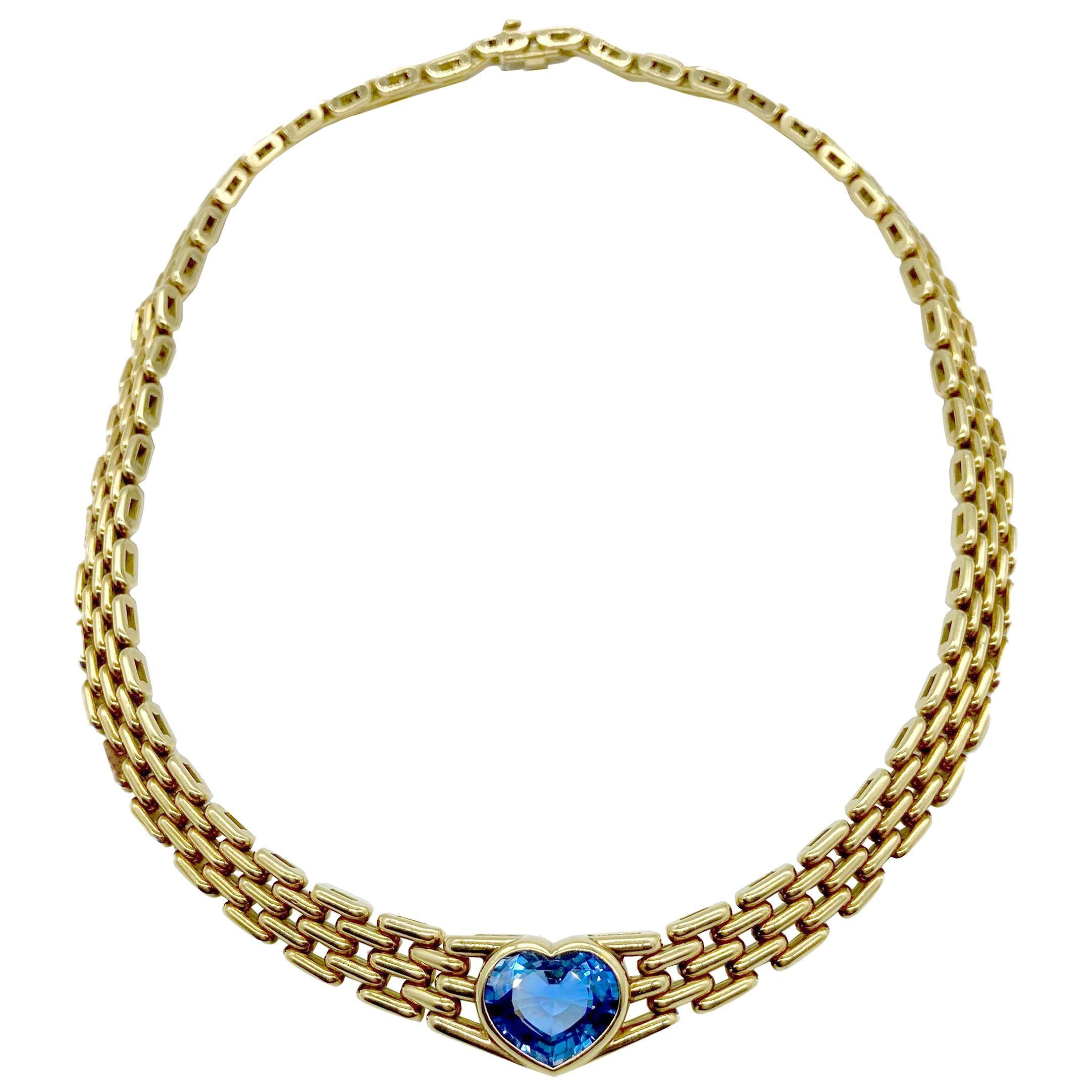 Bulgari Sapphire Heart Yellow Gold Necklace